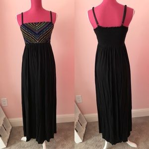 S Black Colorful Aztec Print Maxi Dress
